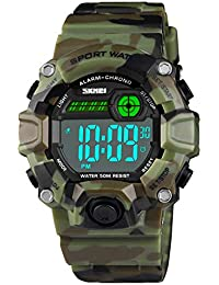 Boys Camouflage LED Sport Digital Watch,Kids Casual Waterproof Electronic Military Wrist Watch with Silicone Band Luminous Alarm Stopwatch Watches Army Green