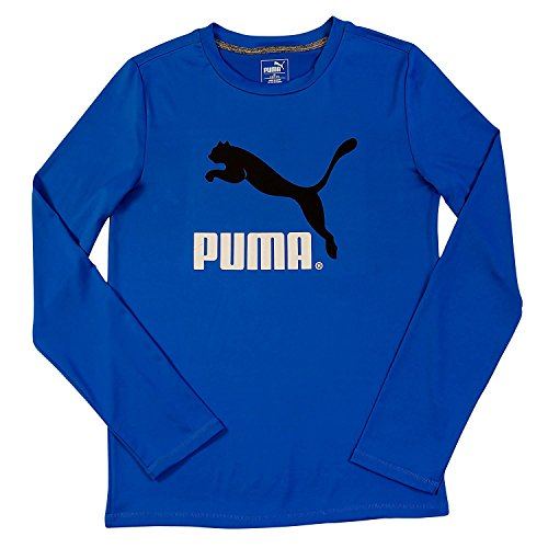Puma Big-Boys Langarm Gro?es Logo T-Shirt - Blau und Schwarz - Gr??e X-Large (Big Bekleidung Kids Charcoal)