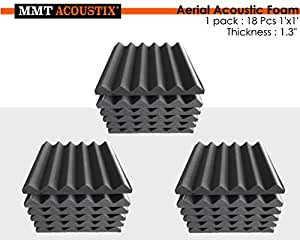 """MMT Acoustix® Soundproofing Aerial Acoustic Foam 1x1 Feet 1.3"""" (Set Of 18) Professional Charcoal"""