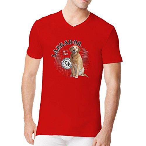 Im-Shirt - Hunde Shirt Motiv: Labrador Foto cooles Fun Men V-Neck - verschiedene Farben Rot