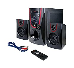tech addict Bulls Eye 2.1 Home Theatre System (Red and Black)