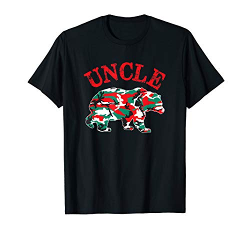 Christmas Camo Uncle Bear Red Green Camouflage Pajama Family T-Shirt (Camouflage T-shirt Kids Woodland)