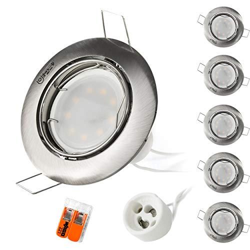 LED Einbaustrahler Set   6 x Einbauleuchten mit Leuchtmittel 230V 5W 400lm 120°   Lichtfarbe 3000K Warmweiß   GU10 Spot schwenkbar aus Aluminium inkl. Anschlussklemme   Kanlux  