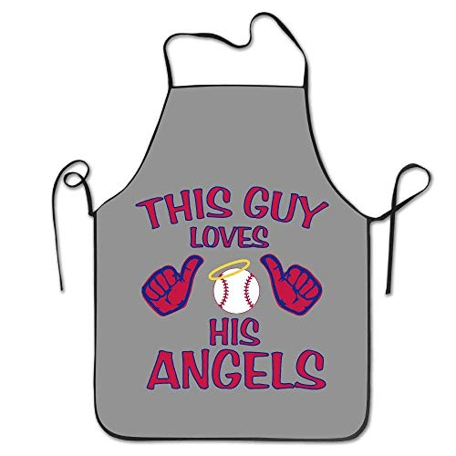 Desing shop This Guy Loves His Angels Baseball White Funny Unisex Barbecue Apron with Black Border 28.3