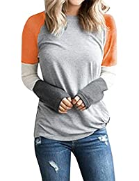 Camiseta Mujer Camisa de Manga Tallas Grandes Mujeres Raya Manga Larga Casual Suelto Blusa Otoño Primavera Fiesta Cuello Redondo T-Shirt Tops riou