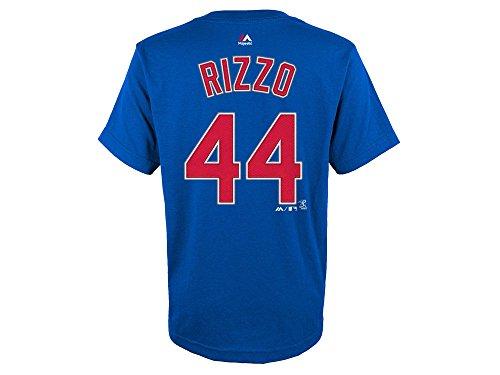 Majestic Athletic Anthony Vincent Rizzo Jugend Chicago Cubs Blau Name und Nummer Jersey T-Shirt, Jungen Mädchen, Königsblau, XL 18/20 -