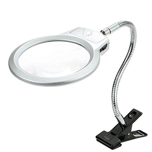 YDFDJT Beleuchtete Lupe Clip-on Tischplatte Schreibtisch LED Lampe Lesen 2.5X 5X Große Linse Lupe mit Clamp -