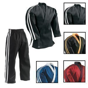 Martial Arts gestreift Team Free Style Demo/Club Uniform-(schwarz mit 2gelb Stripes Set) - 4/170 cm (Person 2 Kostüme)
