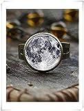 Bague pleine lune, bague spatiale, galaxie, bijoux lunaire lunaire, bijoux planète pleine lune, bague en verre de lune, un beau cadeau.
