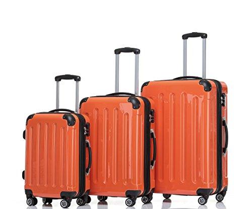 BEIBYE Zwillingsrollen 2048 Hartschale Trolley Koffer Reisekoffer in M-L-XL-Set in 17 Farben (Orangen, SET)
