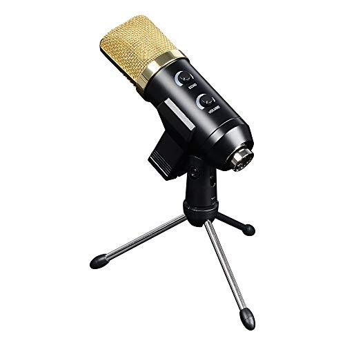 ELFL Mikrofon-Karaoke, USB-Hall-Kondensatormikrofon mit Stativ, Pop-Up-Filter für Podcasting, Aufnahme, Chat, Facebook, Skype, YouTube