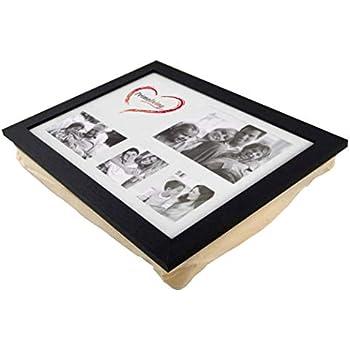 Knietablett mit Kissen Fotorahmen Laptop Frühstück Tablett braun Foto-Laptray