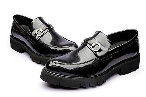 Casual Flache Ferse (Männlich Casual Dress Schuhe Flache Ferse Loafers & Slip-Ons Büro & Karriere Business-Hochzeitsschuhe ( Color : Black , Size : 39 ))