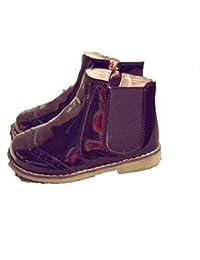 Niños y niñas Martin Botas de Cuero otoño e Invierno más Terciopelo cálido Martin Botas cómodas Lateral Cremallera Antideslizante Botas Planas bebé Zapatos de niño