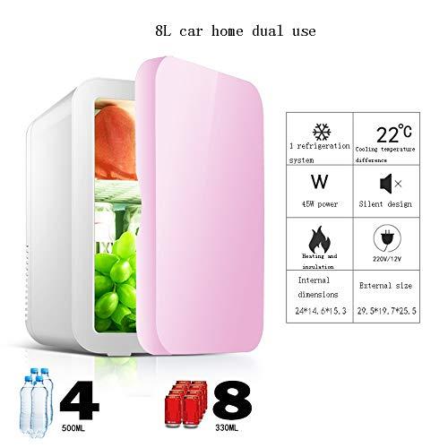 Xyanzi Mini-Kühlschränke Eintüriger Mini-Kühlschrank, Kleiner 8-l-Kühlschrank for Das Auto Elektrischer Kühler und Wärmer for Den Heimbüro-Wohnheim- Oder Boots-Netzkabel (Color : Pink)