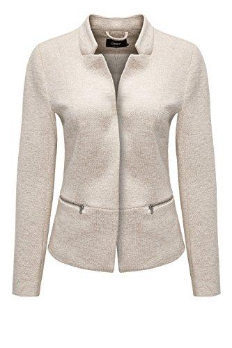 ONLY Damen Sweat Blazer Anzugjacke Leichte Jacke Businessjacke (S, Taupe Gray/Melange) - Taupe Blazer Jacke
