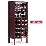 vengaconmigo Botellero de Madera para 28 Botellas 12 Copas Estante de Vino 42x24,5x96CM Botellero Vino