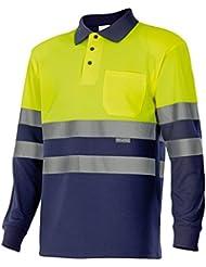 Velilla 175 - Polo de alta visibilidad, manga larga (talla S) color azul marino y amarillo fluorescente