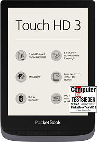 PocketBook e-Book Reader \'Touch HD 3\' (16 GB Speicher; 15,24 cm (6 Zoll) E-Ink Carta Display; SMARTlight; Wi-Fi; Bluetooth) in Silbergrau