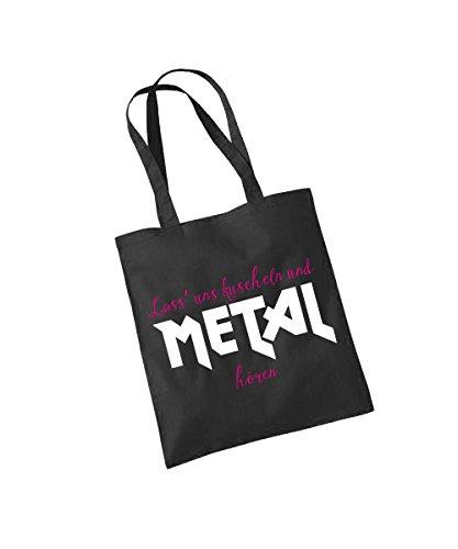 - Kuscheln und Metal hören - Baumwolltasche Schwarz, langer Henkel -