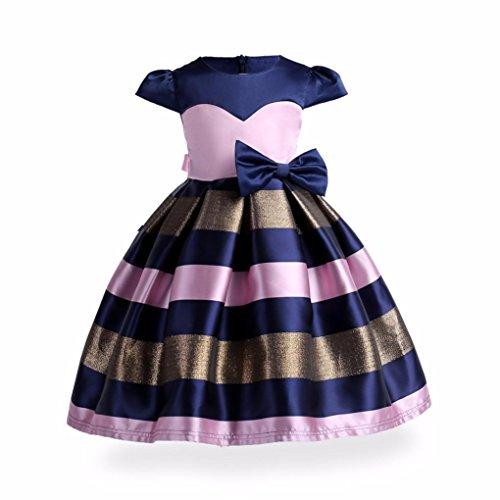 Mädchen Kleider Kindermode Kinderkleidung Longra Mädchen Streifen Bowknot Princess Kleid Festliche Kinderkleider Hochzeit Brautjungfer Tutu Kleid Ballkleid Partykleider (Dark Blue, 110CM 4Jahre) (Spitze-blumen-mädchen-kleid Princess)