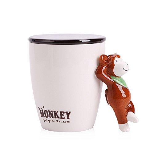 Süßer Cartoon-Becher aus Keramik mit Deckel und Griff in Tierform, ideal für Tee, Milch, Kaffee, 440ml, von Upstyle affe (Milch Affe)