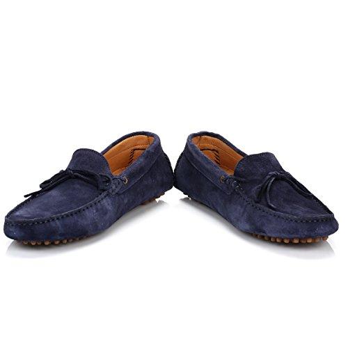H by Hudson Homme Ricardo Suede Slip On Shoes, Bleu Bleu