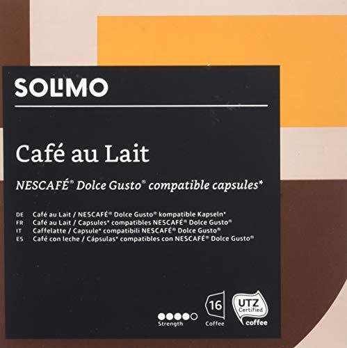 Marca Amazon - Solimo Cápsulas Cafè Au Lait, compatibles Dolce Gusto* - café certificado UTZ - 96...
