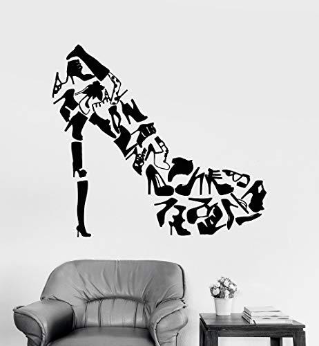47x42cm, Adesivo per bambini, Scarpe con tacchi alti Calzature creative Regalo per donna Decorazione Adesivi per bambini Pittura Opera d'arte Applique Vinile Poster Appeso Murale