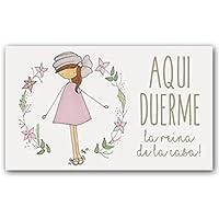 Cuadriman Pppp-Tu Placa Niña Turbante, Madera, Multicolor, 15 x 25 cm
