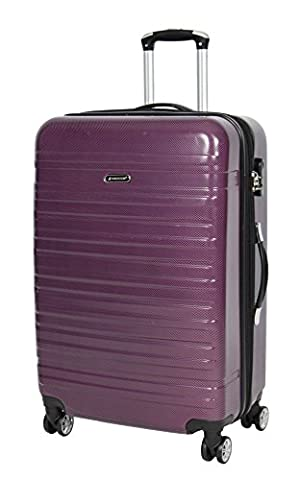 APOLLO Suitcase Luggage Travel Bags Hard Shell Expandable 4 Wheeler Number Lock Trolley PURPLE (Large 76x47x32 cm /