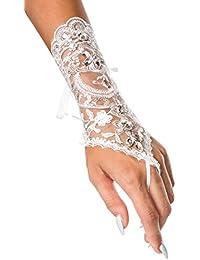 Brauthandschuhe fingerlos Braut Handschuhe Strass Steinchen Hochzeit Weiß Ivory