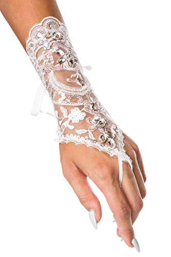 Brauthandschuhe fingerlos Braut Handschuhe Strass Steinchen Hochzeit Weiß Ivory (Ivory)