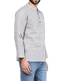 VIVIDS INDIA MEN'S Cotton Linen Short Kurta (Grey , G-140 - $P)