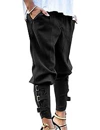 Yying Pantaloni Harem per Donna - Moda Vita Media Pantaloni Larghi con  Tasche Comodi Vita Elastica 436efc9feff
