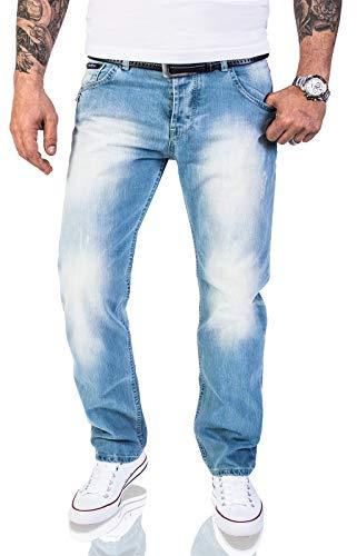 Rock Creek Herren Jeans Hose Regular Fit Jeans Herrenjeans Herrenhose Denim Stonewashed Basic Raw Straight Cut Jeans RC-2141 Hellblau W33 L34