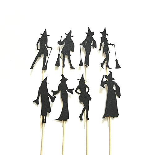 n Cupcake Topper Schwarz Dressing Modenschau Haltungen Kuchen Eingesetzte Karte Für Halloween Horror Kuchen Dekoration ()