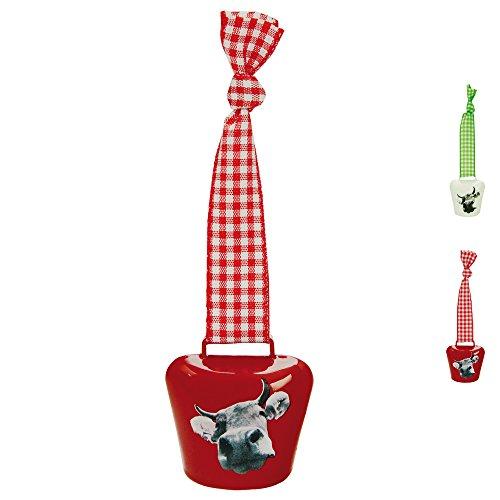 ebos Kuhglocke ✓ mit Karoband ✓ Größe 3 ✓ Schelle | Glocke | optimal als Schlüsselanhänger oder Taschenschmuck anwendbar | Allgäu- und Bavariasouvenir (Rot) -