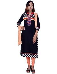 Rama Suit Set Black And Printed Kurta With Peach Colour Legging And Dupatta