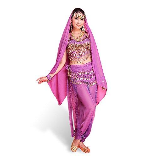 SymbolLife Belly Indian Dance costumes, Bauchtanz kostüm damen indischen Tanzkleidung Tanzkostüme Halloween Kostüme Darbietungen Kleidung Das Obere + Pluderhosen + Gürtel+ Kopf Kette (Für Halloween Indische Frauen Kostüme)