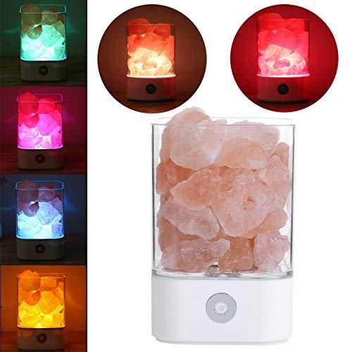 Qwhome Himalaya-Salz-Lampe, USB-natürliche Himilian rosa Salz Kristallfels Lampe gut für Gesundheit kleine Mineral Negative Lonic Stein Lava Salz Nachtlicht für Schlafzimmer Büro,White