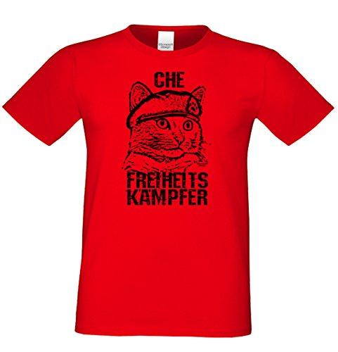 Che Freiheitskämpfer :: Lustiges Sprüche Fun T-Shirt mit Tiermotiv für Herren :: Geschenkidee für Ihn Geschenk für Katzenliebhaber Katzenfans Farbe: rot Rot