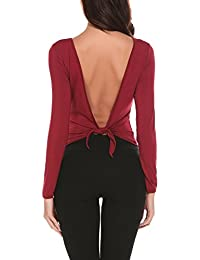 d7dc7e5e2718 Parabler Damen Sexy Rückenfrei Langarmshirt T-Shirt Bluse mit Knot Slim Fit  Einfarbig Tops