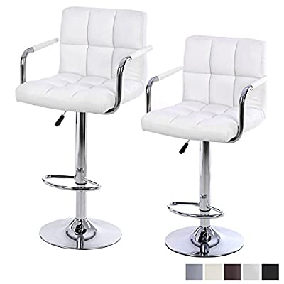 Lavin Lifestyle 2 x White Faux Leather Breakfast Kitchen Bar Stools with Backs Armrests - inexpensive UK bar stool shop.