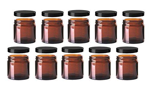 10x Cremedose verschiedene Größen aus Glas, mit Schraubverschluss Schraubdeckel in verschiedenen Farben zum selbst befüllen / Glastiegel Salbentiegel Cremetiegel (60 ml, Braun)