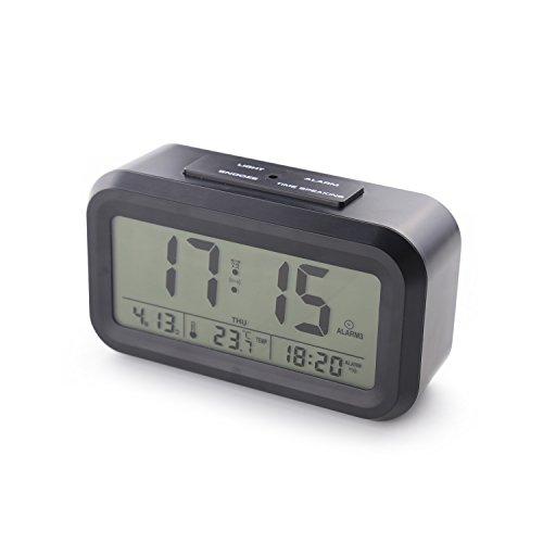 [Upgrade-Version] Smart Backlight Wecker mit 3 Alarmen Sprechen Wecker Anzeige Zeit Temp-Datum Woche und Arbeitstag Einstellung (Black) … (Reden Sie Datum Und Zeit, Uhr)