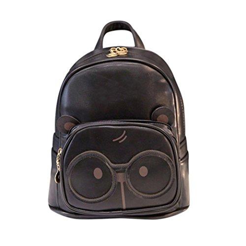Mochila, Manadlian Moda Mochila Gripesack Bolso mochila escolar para mujeres Correas Ajustables (23cm(L)*10cm(W)*25cm(H), Negro)