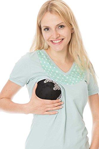 GoFuture Damen Umstandsshirt Stillshirt 3in1 Paola GF2373 Minze plus weiße Sterne auf Minze