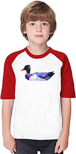 Galaxy Duck Soft Material Baseball Kids T-Shirt by Benito Clothing - 100% Organic, Hypoallergenic Cotton- Casual & Sports Wear - Unisex for Boys and Girls 12-14 years (Cotton Material 100% Duck)