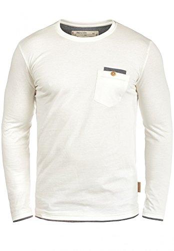 Indicode Sheridan Herren Longsleeve mit Rundhalsausschnitt Aus Hochwertiger Baumwoll-Mischung, Größe:L, Farbe:Off-White (002) (Weiße Baumwoll-mischung)